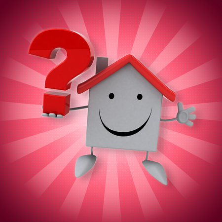 Cartoon house with question mark
