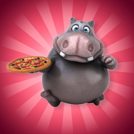 cheesy: Hippo with pizza