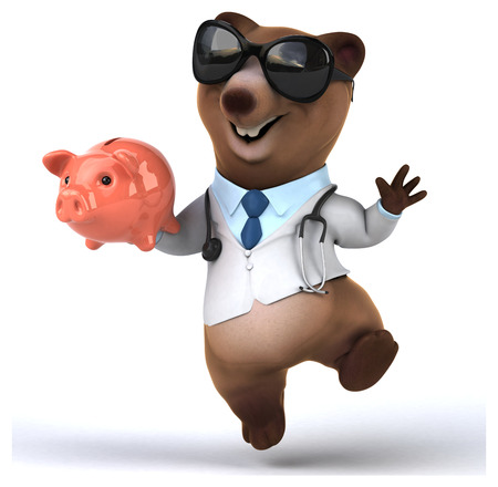 doctor money: Fun bear Stock Photo