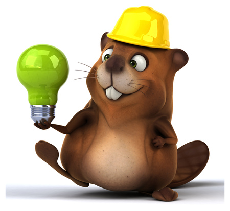construction worker cartoon: Fun beaver