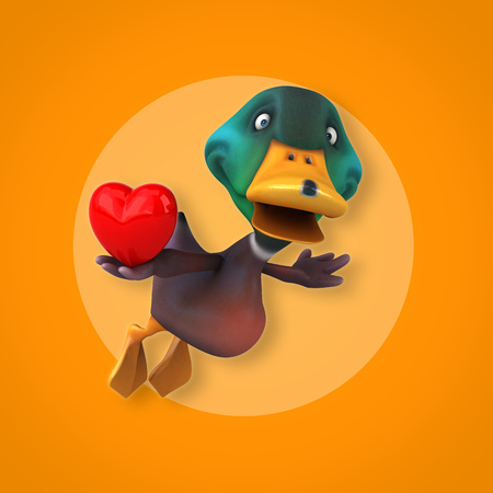 Cartoon duck flying with a heart