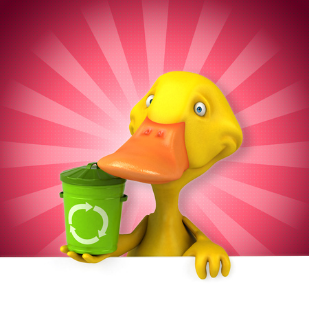 Cartoon duck with a recycle bin