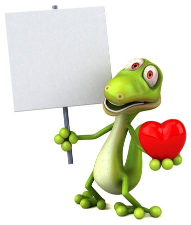 eslogan: Lagarto de dibujos animados con un cartel y un corazón