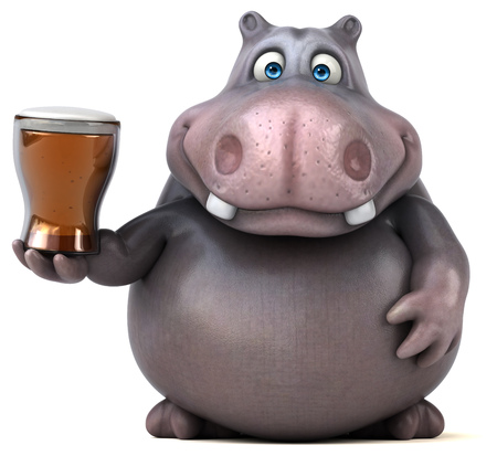 beer belly: Hippo Stock Photo