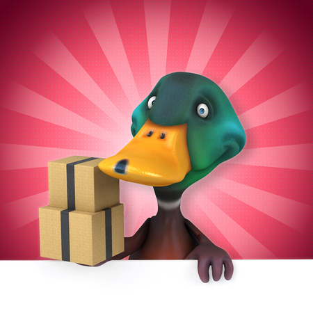 Cartoon duck with boxes Stock Photo
