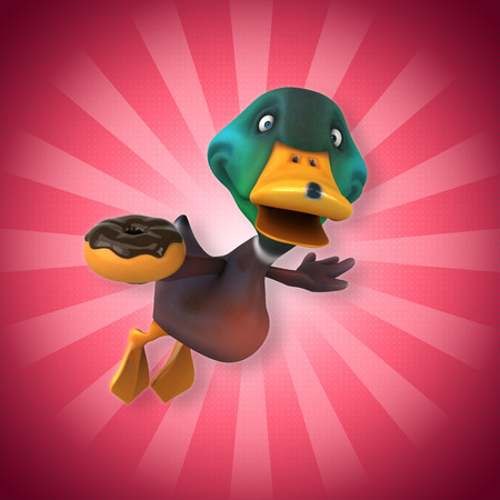 Cartoon duck flying with donut Stock Photo