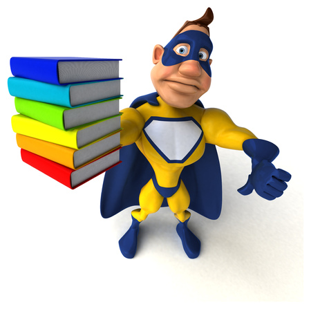 Super hero with a stack of books Stock Photo