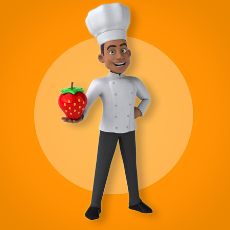 Cartoon chef holding a strawberry