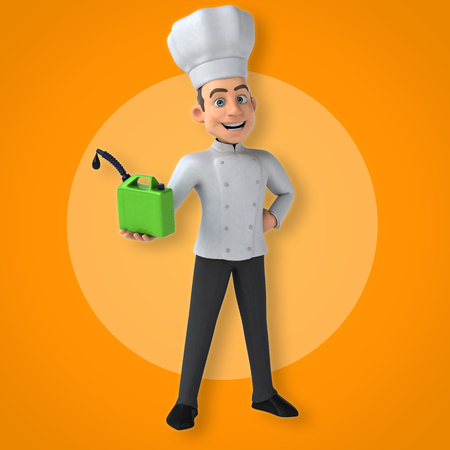 Cartoon chef holding a bottle of petrol