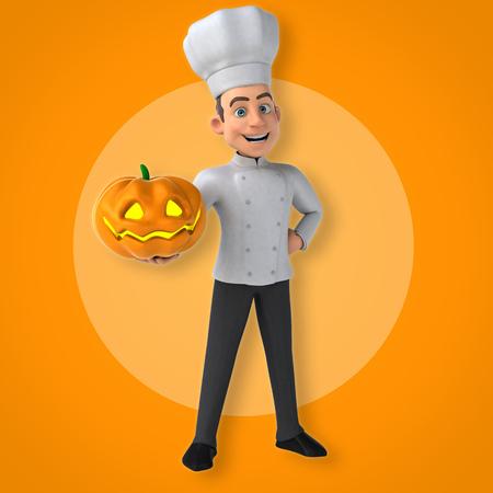 Cartoon chef holding a pumpkin Stok Fotoğraf - 77713563