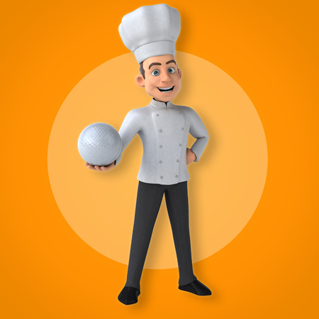 Cartoon chef holding a golf ball