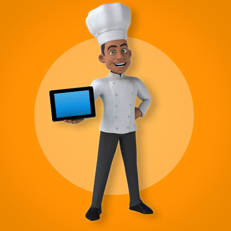 Cartoon chef holding a tablet computer