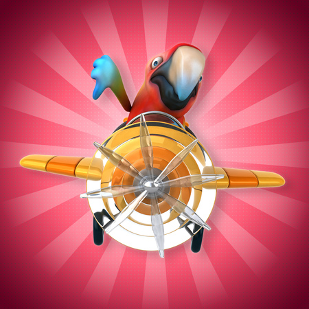 Cartoon parrot on airplane Stock Photo