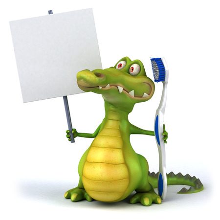 signage: Crocodile with toothbrush and empty signboard