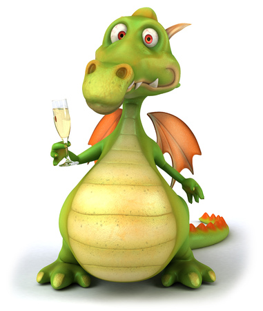 Dragon holding a glass of champagne Stock Photo