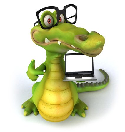 Crocodile with spectacles holding a laptop