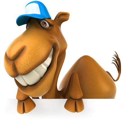Grinning camel with cap