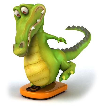 Crocodile on weighing scale Stock Photo