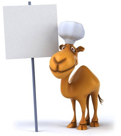 Chef camel with empty signboard