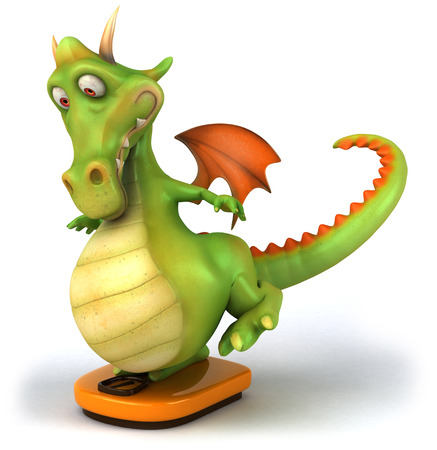 Dragon on weighing scale Stock Photo
