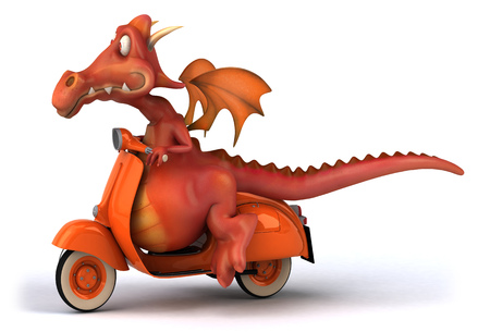 Dragon on scooter Stock Photo