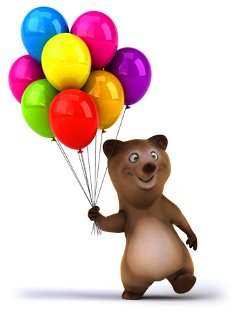 floating: Bear holding a bunch of balloons