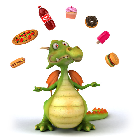 Dragon juggling junk food
