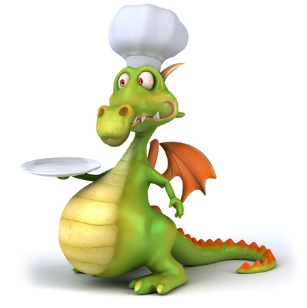 Chef dragon holding an empty plate Stock Photo