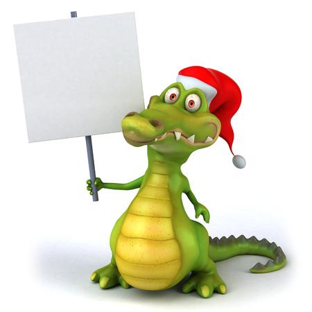 signage: Santa crocodile holding a signboard
