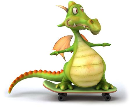 Dragon on skateboard