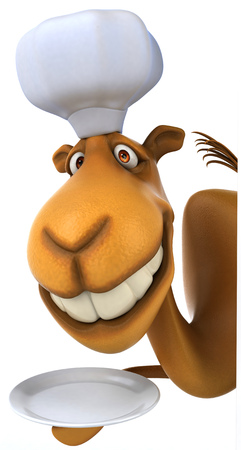 Camel chef holding an empty plate