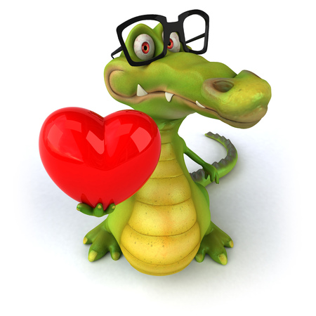 spectacle frame: Crocodile with spectacles holding a heart Stock Photo