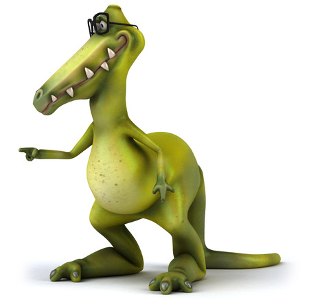Dinosaur with glasses pointing