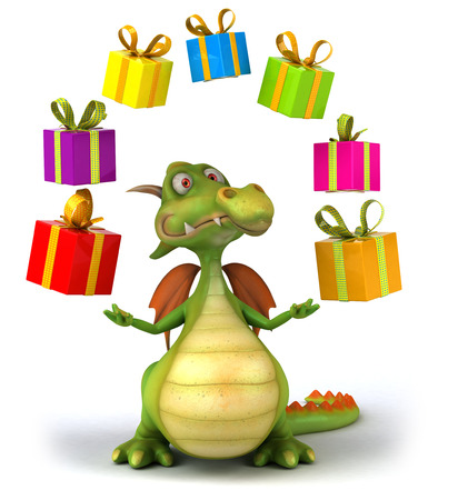 Cartoon dragon with gift boxes