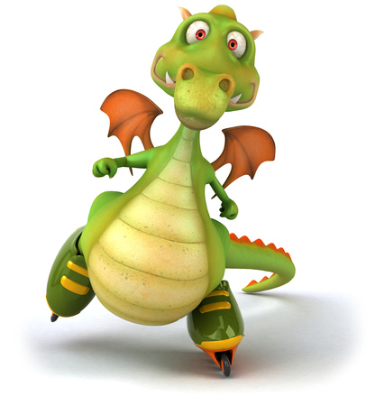 mythological character: Cartoon dragon in roller skates