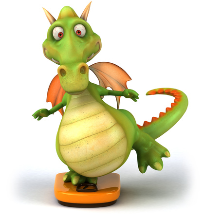Cartoon dragon on weight scale