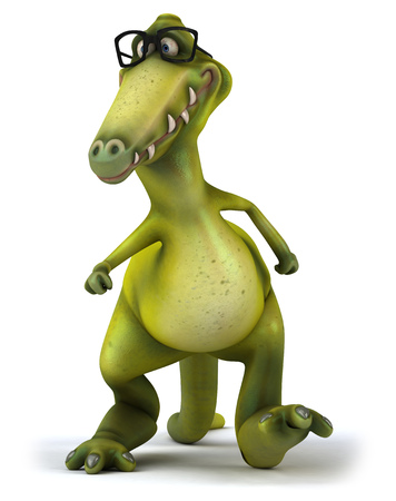 spectacle frame: Cartoon dinosaur with glasses