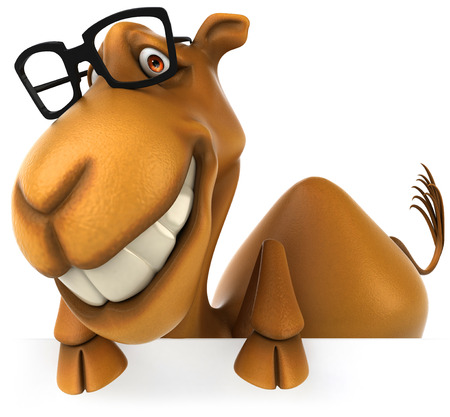 Cartoon camel with glasses