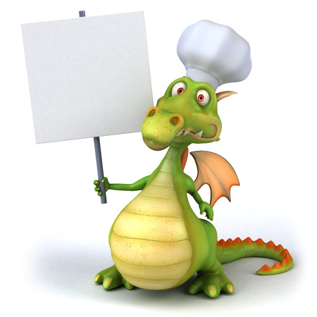 Cartoon dragon with signboard and chef hat