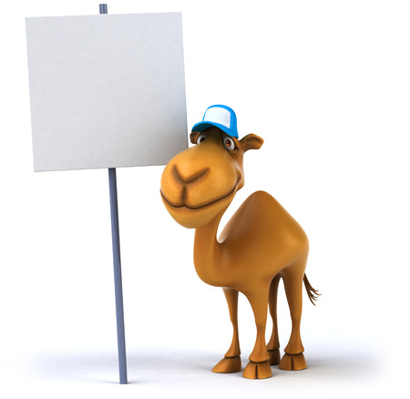 Cartoon camel with cap and signboard