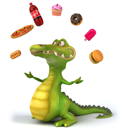 cupcakes isolated: Cartoon crocodile with junk foods
