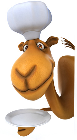 Cartoon camel with chef hat and a plate