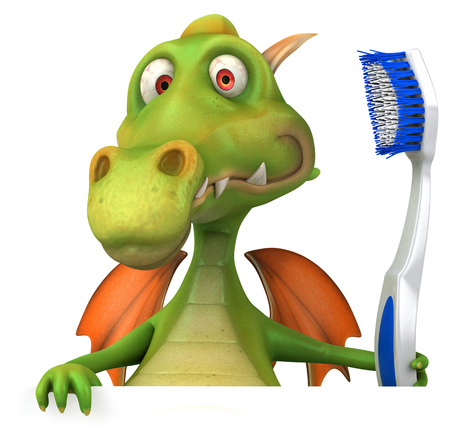 Cartoon dragon with a toothbrush