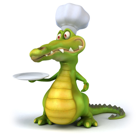 Cartoon crocodile with chef hat and a plate