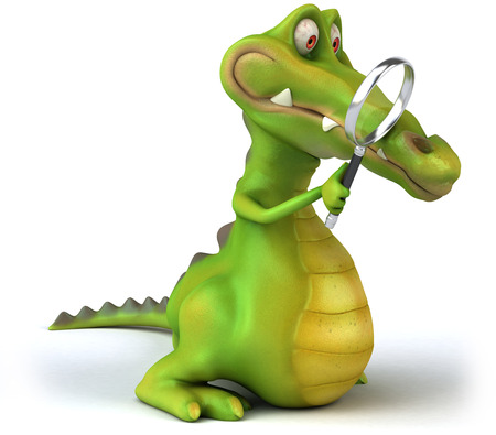 Cartoon crocodile with magnifying glass