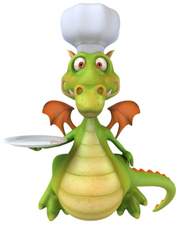 Cartoon dragon with chef hat Stock Photo