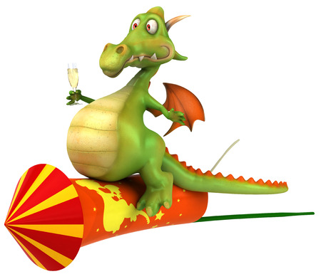 Cartoon dragon with champagne riding on firecracker