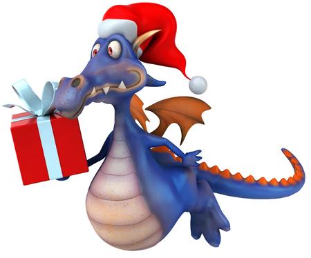 Cartoon dragon with santa hat and a gift box
