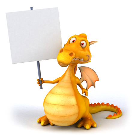 Cartoon dragon holding a placard Stock Photo