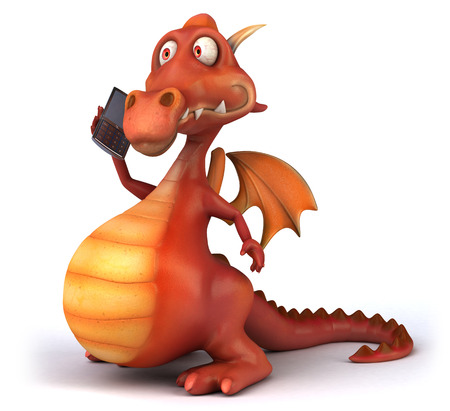 Cartoon dragon with handphone